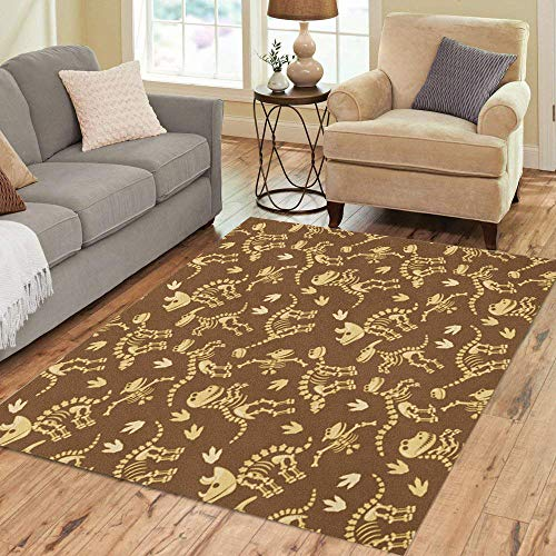 (Semtomn Area Rug 2' X 3' Archaeologist Tileable Pattern Dinosaur Bones and Fossils Pterodactyl Ancient Home Decor Collection Floor Rugs Carpet for Living Room Bedroom Dining Room)