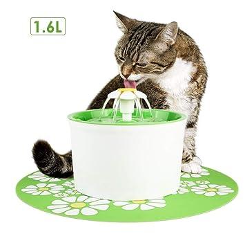 DJLOOKK Pequeña Flor Redonda - Dispensador De Agua para Mascotas Automático Circulador Alimentador De Agua Eléctrico Bebedor De Fuente para Gatos Y Perros: ...
