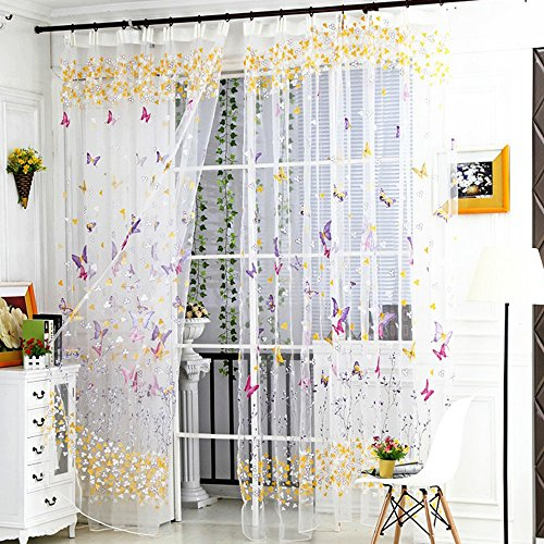 GXOK 1Panel Butterfly Sheer Curtain Tulle Window Treatment Voile Drape Valance (Multicolor A) ()