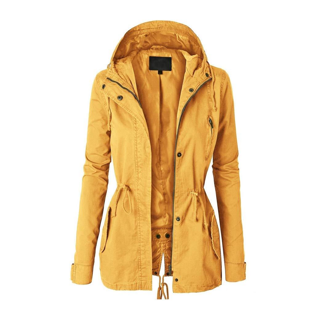 Makaor Women Winter Coat,Women's Plus Size Long Sleeve Winter Hooded Coat Mid Length Outwear Trench Coat Jacket (Asian Size:M, Yellow)
