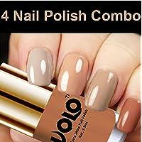 Volo HD Colors High-Shine Long Lasting Non Toxic Professional Nail Polish Set of 4 (Nude Tude)