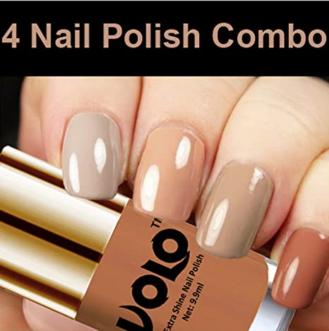 1a8d62eea93d9 Volo HD Colors High-Shine Long Lasting Non Toxic Professional Nail Polish  Set of 4 (Nude Tude)  Amazon.in  Beauty