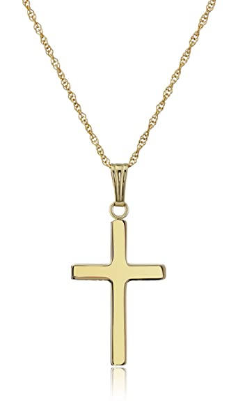 Amazon 14k yellow gold solid polished cross pendant necklace 14k yellow gold solid polished cross pendant necklace 18quot aloadofball Gallery