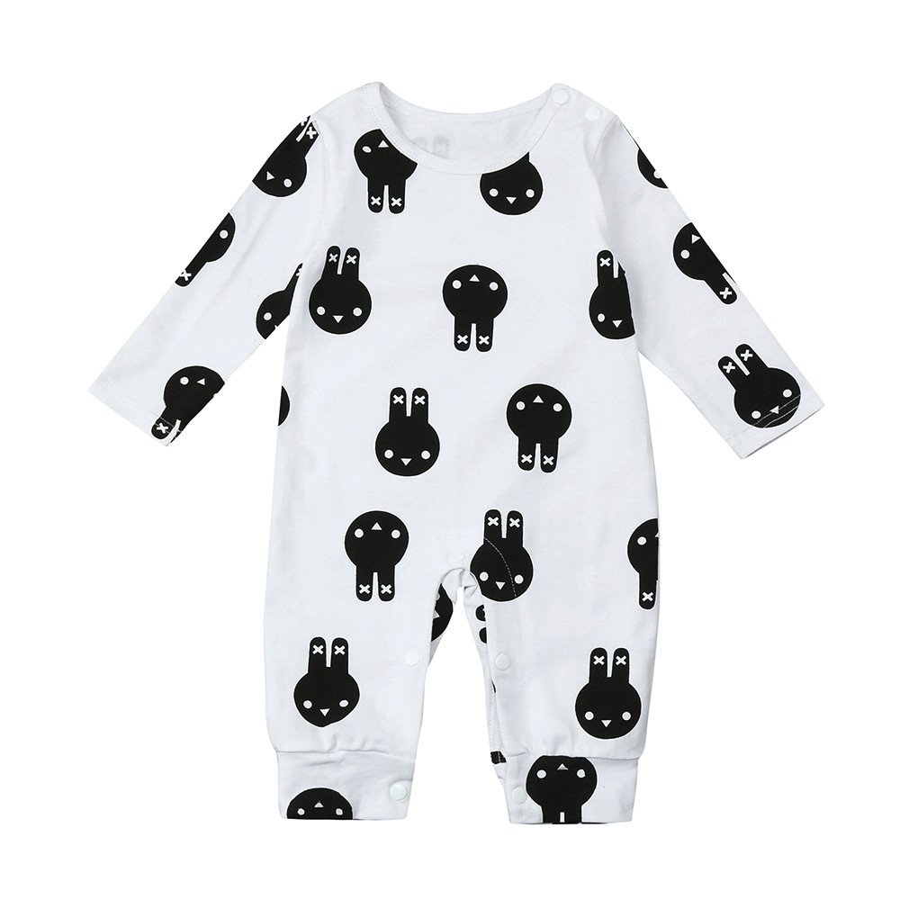 Cute Romper for Unisex Kid Baby Lovely Rabbit Print Outfits Clothes Romper Jumpsuit uBabamama for0-24 Months Baby Boy Girls(White, 6M)