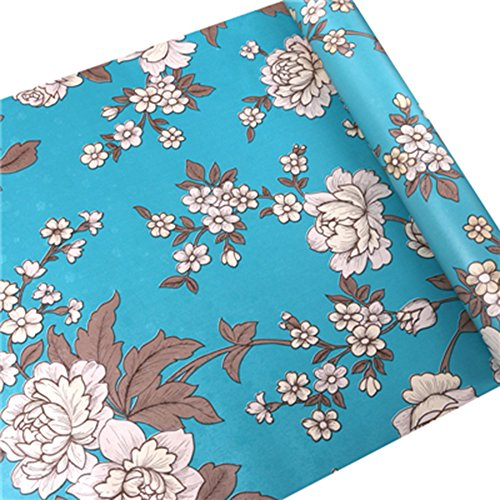 HOYOYO 17x78 Inches Self-Adhesive Contact Paper, PVC Moisture Proof Drawer Paper Shelf Liner Mildew Proof Antifouling Wall Paper, Blue Vintage Peony Decorative (Liner Paper Wall)