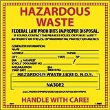 NMC HW7L Hazardous Waste Container Label, ''HAZARDOUS WASTE (FOR LIQUIDS)'', 6'' Width x 6'' Height, Pressure Sensitive Vinyl, Red/Black on Yellow (Pack of 25)