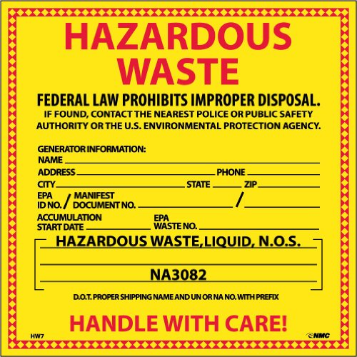 NMC HW7L Hazardous Waste Container Label, ''HAZARDOUS WASTE (FOR LIQUIDS)'', 6'' Width x 6'' Height, Pressure Sensitive Vinyl, Red/Black on Yellow (Pack of 25) by NMC
