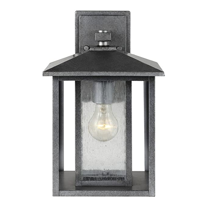 Sea gull lighting 88027 57 hunnington one light outdoor wall lantern with clear seeded glass panels weathered pewter finish wall porch lights amazon