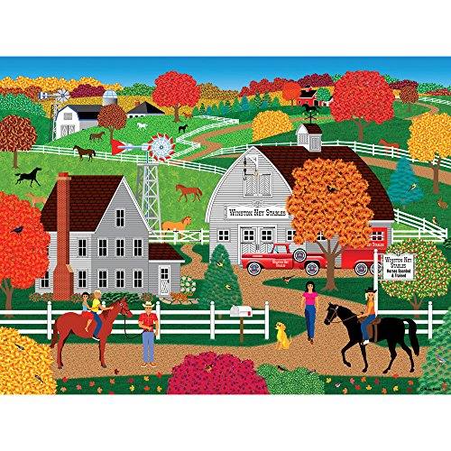 Bits and Pieces - 300 Large Piece Jigsaw Puzzle for Adults - Horse Country - 300 pc Fall on the Farm Jigsaw by Artist Mark Frost