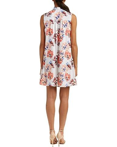 5a14eac4b4736 CeCe Women's Sleeveless Garden Blooms Tie Neck Swing Dress New Ivory Dress  at Amazon Women's Clothing store: