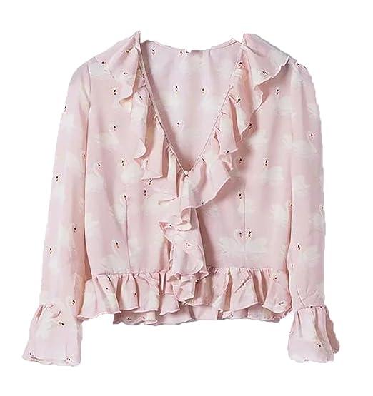 c9f2f43c5f59 Jotebriyo Womens Long Sleeve V Neck Floral Print Ruffle Crop Top Tees Blouse  T-Shirt