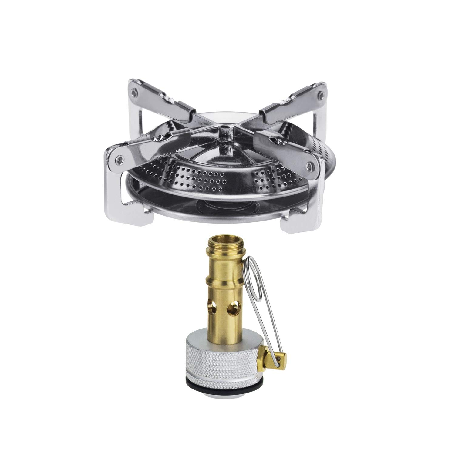 SODIAL Outdoor Camping Portable Stainless Steel Gas Stove Camping Folding Bracket Stove Camping Ultra Light Gas Stove Head Picnic Barbecue Camping Equipment