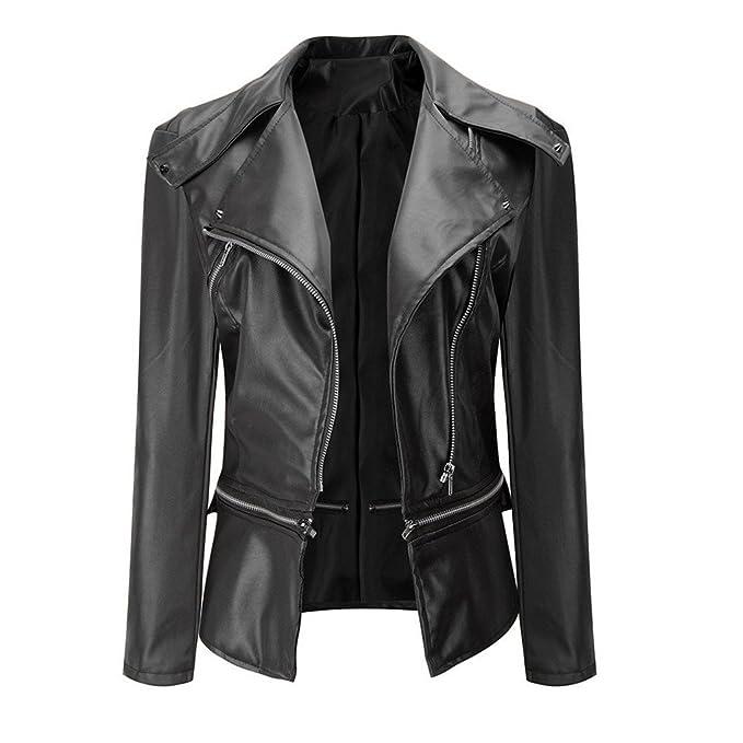 Amazon.com: haoricu Women Jacket, Autumn Fashion Vintage Retro Women Biker Motorcycle PU Leather Zipper Jacket Coat Black: Clothing