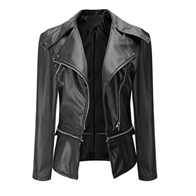 haoricu Women Jacket, Autumn Fashion Vintage Retro Women Biker Motorcycle PU Leather Zipper Jacket Coat
