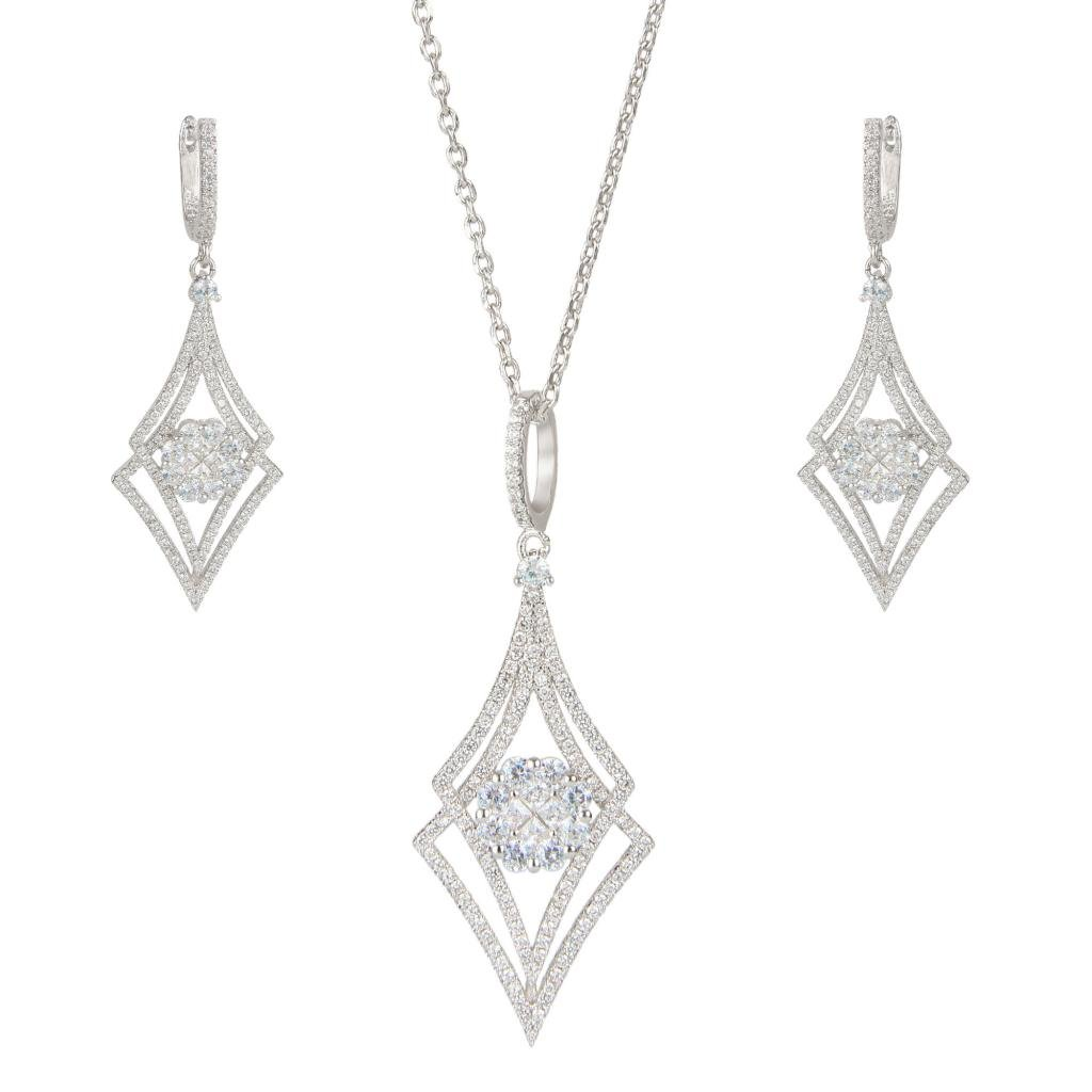 EVER FAITH Silver-Tone Zircon Elegant Double Rhombus Shaped Pendant Necklace Earrings Set Clear by EVER FAITH (Image #1)