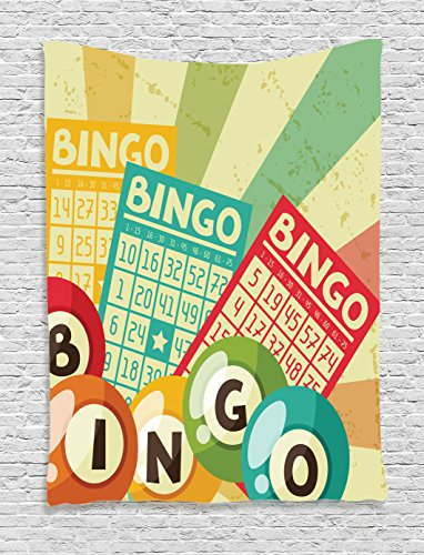 Vintage Decor Tapestry by Ambesonne, Bingo Game with Ball and Cards Pop Art