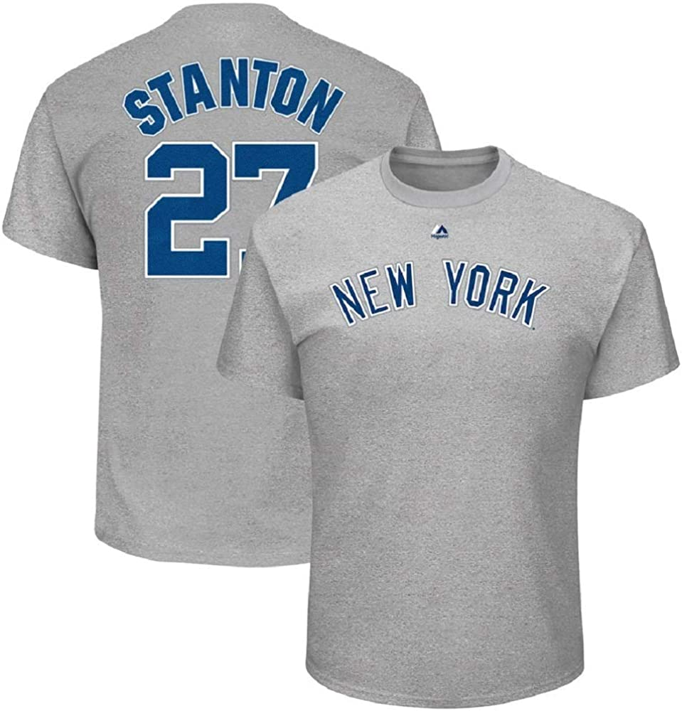 Giancarlo Stanton New York Yankees MLB Majestic Boys Youth 8-20 Gray Official Player Name /& Number T-Shirt