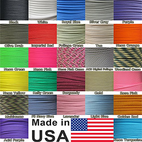 Paracord Planet 250' & 300' Hanks, & 1000' Spools of Parachute 550 Cord Type III 7 Strand Paracord
