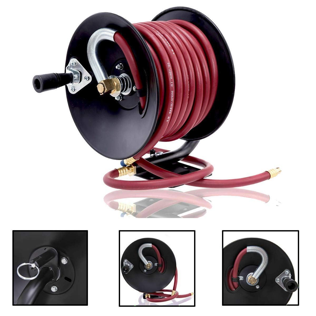 Selva Manual Hand Crank Air Hose Reel with 3/8''x 50FT Rubber Air Compressor Hose | Heavy Duty Durable Weather Resistant Ergonomic Handle Safe Secure 300PSI Max Pressure | For Home Lawn Garden Pump