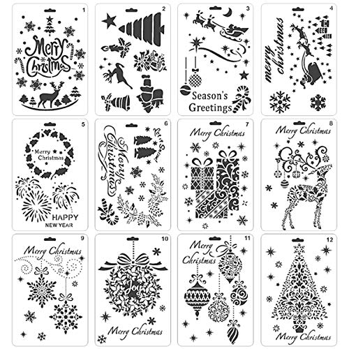 Pack of 12 Christmas DIY Painting Drawing Stencils Templates Merry Christmas Santa Claus Christmas Tree Snowflakes Bulbs Reindeers Firework ()