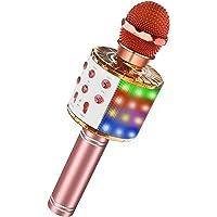 LET'S GO! Led Lights Wireless Portable Handheld Bluetooth Karaoke Microphone (Rose Gold plus)