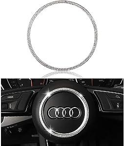 LECART Crystal Bling Steering Wheel Emblem Badge Logo Cover Trim Ring Center Decor Logo Decoration Interior Accessory for Audi (Circle)