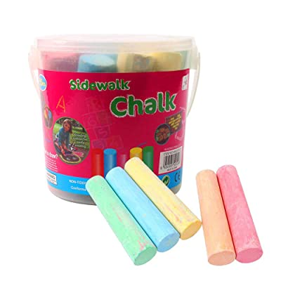 SportHome SportHome Dustless Chalk Children Kids Pavements Sticks Assorted Colours Art Floor Chalks Color Splash! Giant Box of Sidewalk Chalk(Box of 15): Toys & Games