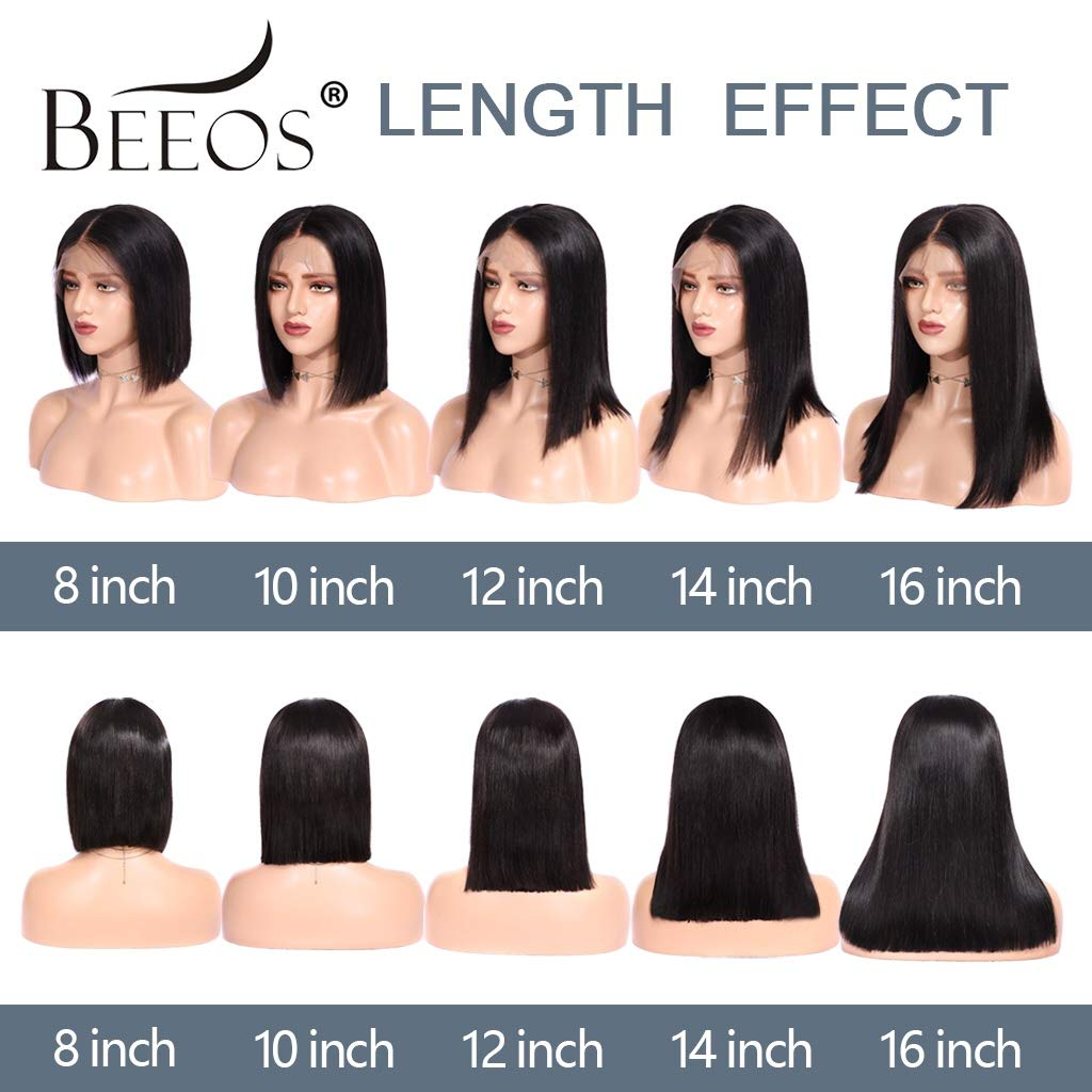 BEEOS 13x6 Short Bob Lace Front Human Hair Wigs for Black Women, 150% Density Pre Plucked and Bleached Knots Natural Black Brazilian Remy Bob Wig (10 inch) by BEEOS (Image #6)