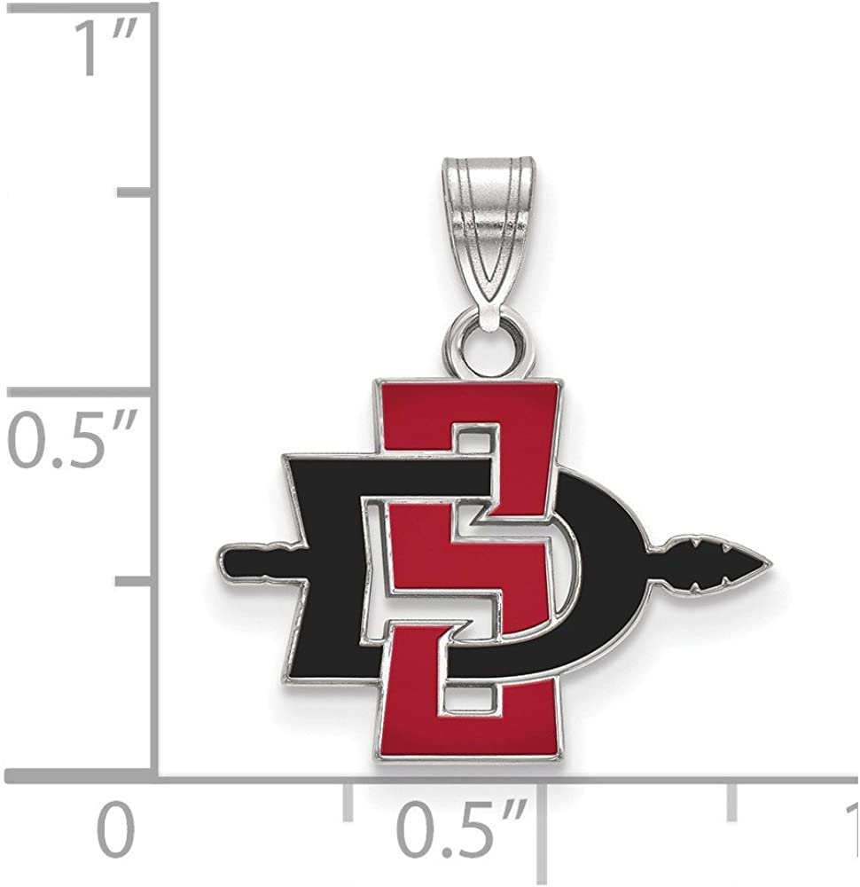 925 Sterling Silver Officially Licensed San Diego State University College Small Pendant (19 Mm X 18 Mm)