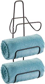 6 Levels White mDesign Metal Wall Mount Bathroom Towel Rack Holder