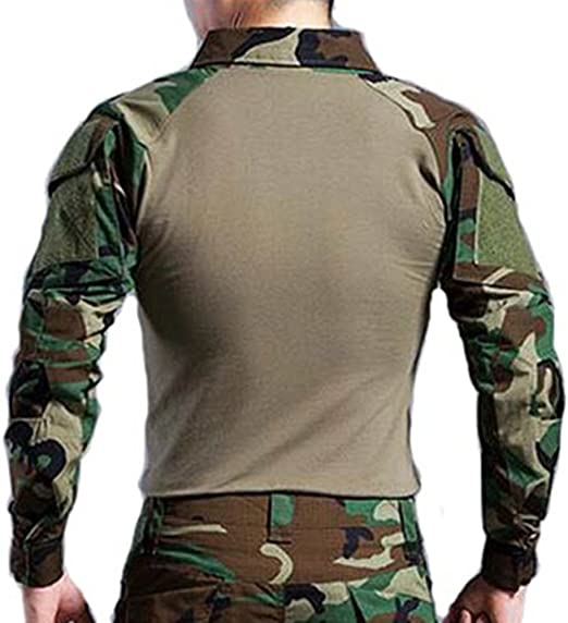 H World EU Tactical Hunting Camisa de Manga Larga Militar con Coderas (Woodland, L): Amazon.es: Deportes y aire libre