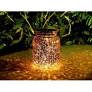 voona 2-Pack Solar Bronze Mercury Glass Jar Outdoor Lights for Hanging and Ground Use Pathway Table Garden Decorations Outdoor Decor (Bronze)