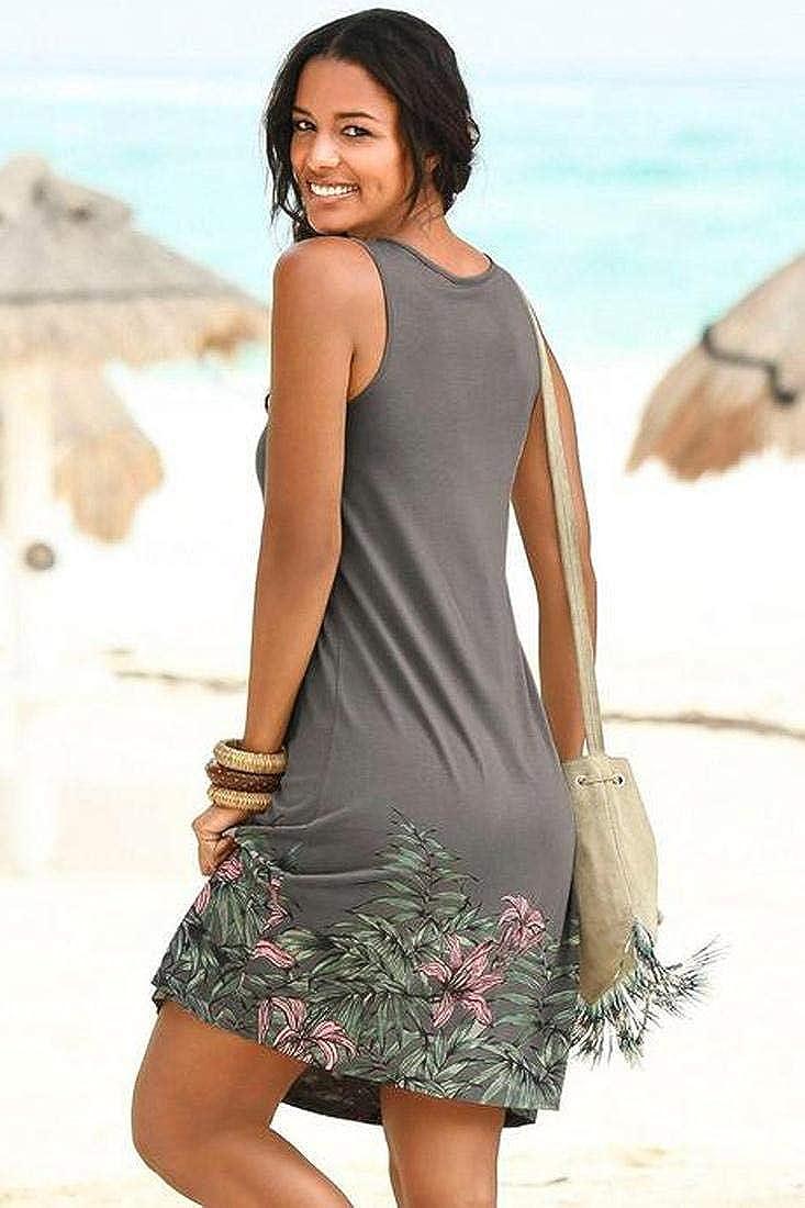 heekpek Abito Smanicato Stampato Senza Maniche XXL Copricostumi e Parei Donna Abito Vestito Beachwear Donna Cotone Pizzo Bikini Cover Up Lunga Camicia Tunica Abito da Spiaggia