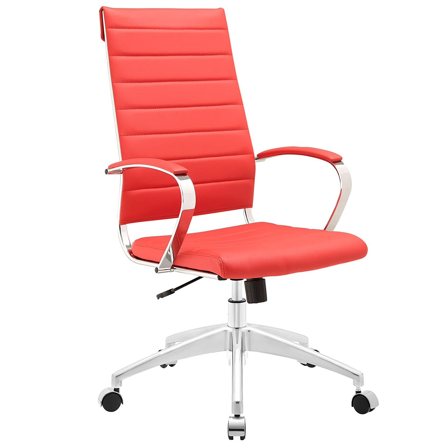 Modway Jive Ribbed High Back Tall Executive Swivel Office Chair With Arms In Red