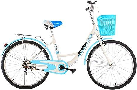 VEVC Bicicleta para Mujer Adulta De 20/24/26 Pulgadas, Bicicleta De Carretera Urbana Al Aire Libre De Alta Dureza De Acero Al Carbono para Hombre/Mujer Bicicleta De Una Sola Velocidad: Amazon.es: Deportes y