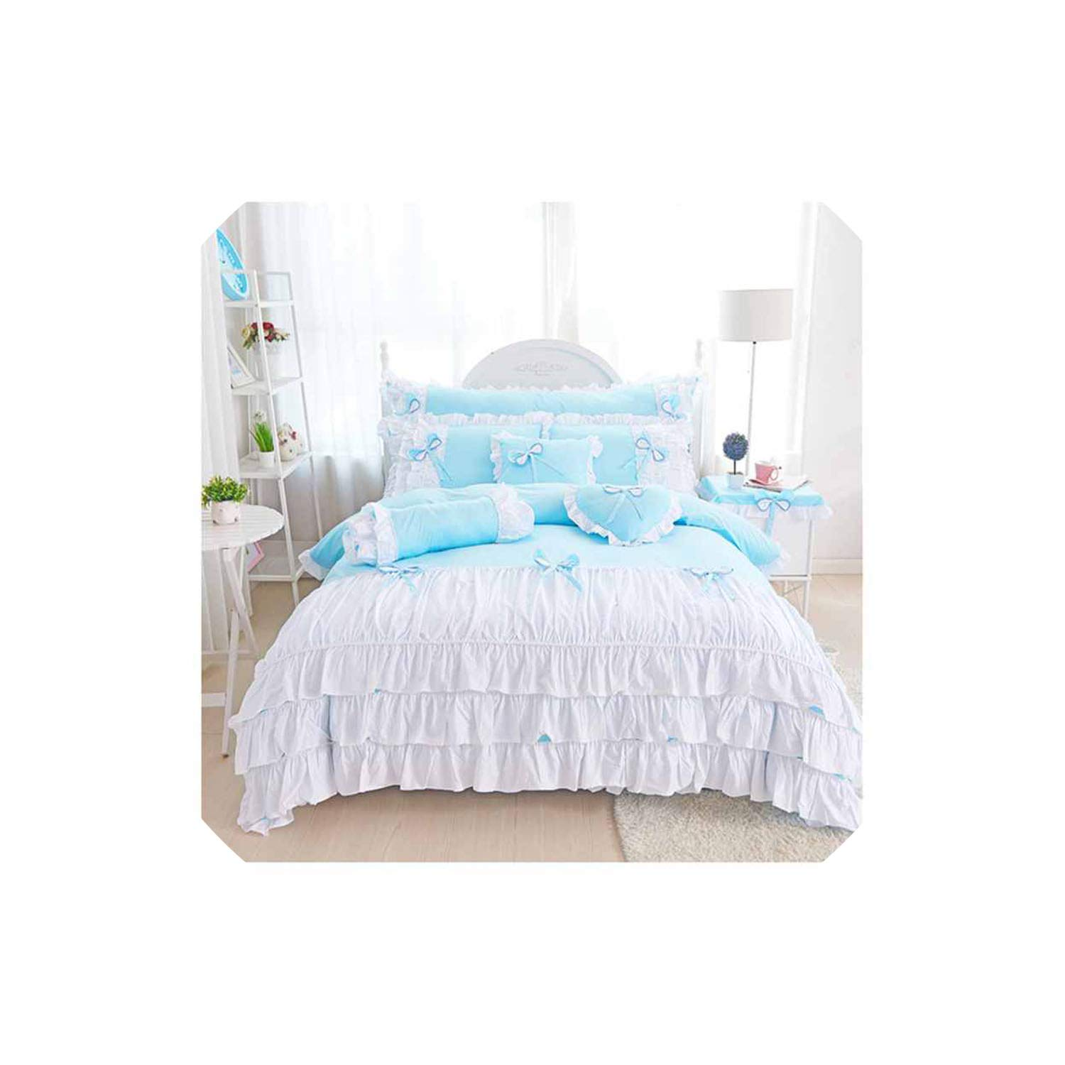 Pocket shop Korean Style Blue/Pink Princess Bedding Set Twin Size 4Pcs Girls Quilt Cover Ruffles Bedspread Bed Sheet Home Textile,Sky Blue,Size 4Pcs