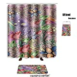 vanfan bath sets with Polyester rugs and shower curtain textile colorful print design 584155597 shower curtains sets bathroom 72 x 88 inches&31.5 x 19.7 inches(Free 1 towel and 12 hooks)