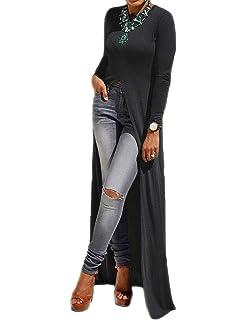 52c6087bcb4 MACCHIASHINE Sexy Open Front Split Long Sleeve Short Sleeve Party Maxi  Dress Tunic Shirt Tops