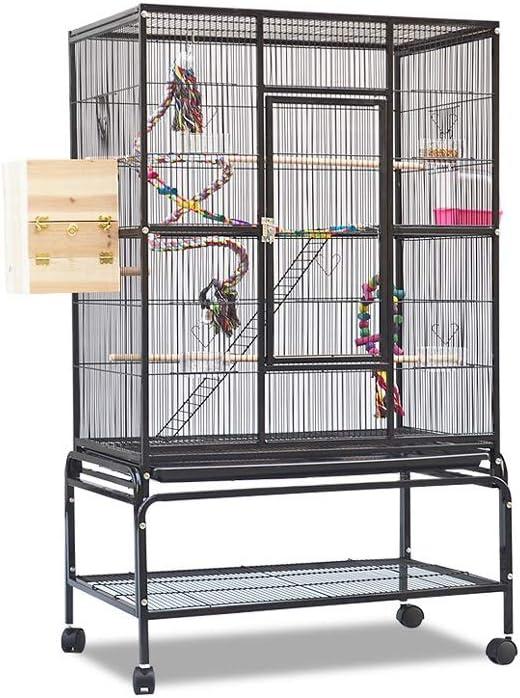 Jaulas para pájaros grandes baratas Metal grande loro jaula de pájaro con la rueda, Cockatiel Parakeet de Budgie Canarias Agapornis Jaula del loro mascotas jaula de pájaro con la escala juguetes colga