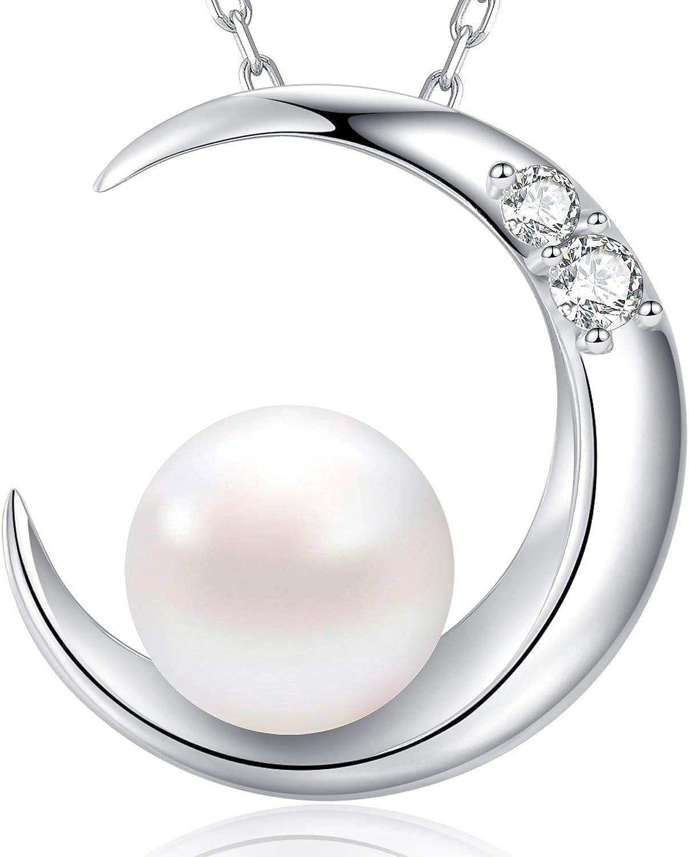 MEGA CREATIVE JEWELRY Collar Luna Perla para Mujer Plata 925 con Cristales Swarovski
