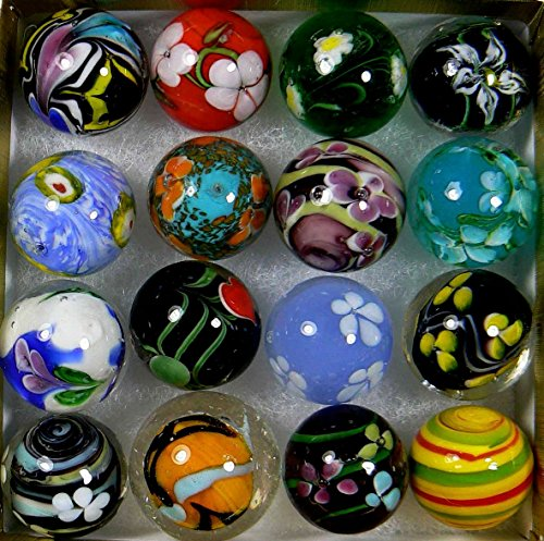 "Unique & Custom {7/8"" Inch} Set of 16 Large ""Round"" Opaque Marbles Made of Glass for Filling Vases, Games & Decor w/ Spiral Handmade Floral Design [Assorted Colors] w/ Shooter & Collectors Box"