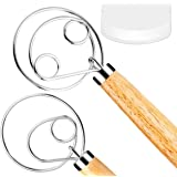 Tobepico Danish Dough Whisk Bread Mixer,2 Pack Premium Stainless Steel Dutch Whisk With a Dough Scraper for Bread…