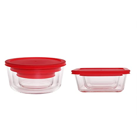 Merveilleux Glass Food Storage Containers,Stackable Classic Sturdy Food Storage Dish  With BPA Free Red