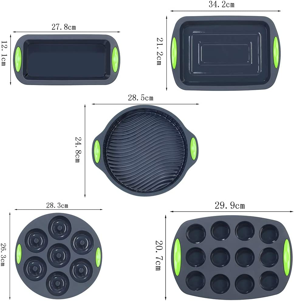 Nonstick 41 Pieces Silicone Bakeware Set Silicone Cake Molds Baking Sheet Silicone Donut Baking Pans Silicone Muffin Pan with 36 Pack Silicone Cupcake Baking Cups by To encounter
