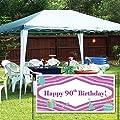 Happy 90th Birthday Purple & Teal Party Supplies 2'x4' Vinyl Banner