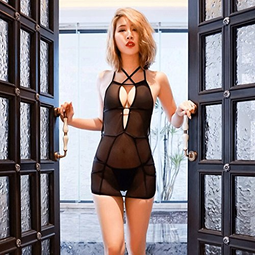 FLH Ropa interior atractiva pijamas ropa interior de hilados netos sección delgada profunda V tentación arnés casa falda de sueño erogeno