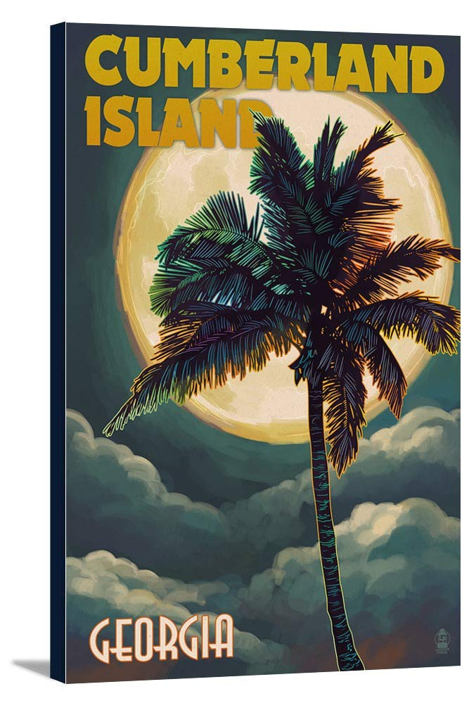 カンバーランド島、ジョージア – Palms and Moon 24 x 36 Gallery Canvas LANT-3P-SC-55699-24x36 B0184B0LUA  24 x 36 Gallery Canvas