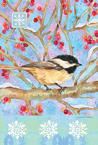 Toland Home Garden Winter Woods Chickadee 12.5 x 18 Inch Dec
