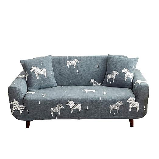CHYOOO Funda De Sofa Gris Estampado De Pony Transpirable ...