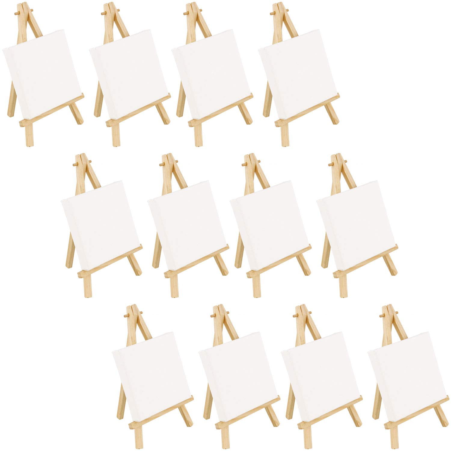 US Art Supply Artists 5''x5'' Mini Canvas & 8'' Mini Natural Easel Set Painting Craft Drawing - Set Contains: 12 Mini Canvases & 12 Mini Easels